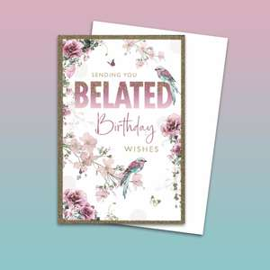 Floral Birds Belated Birthday Card Alongside Its White Envelope