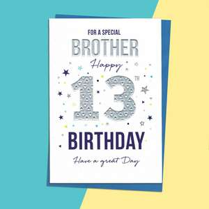 Brother 13th Birthday Card Alongside Its Blue Envelope