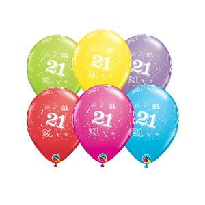 Image Of 6 Inflated Age 21 Multicoloured Latex Balloons