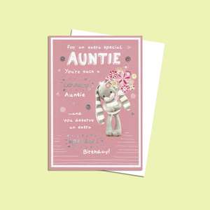 Pink And White Auntie Birthday Card Featuring A Cute Bunny Holding A Bunch Of Flowers