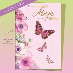 Loveliest Mum Butterflies Birthday Card Alongside Its Gold Envelope