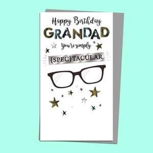 Grandad Spectacular Birthday Card Alongside Its Silver Envelope