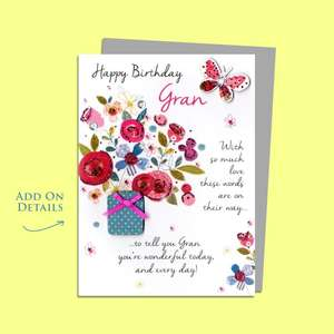 Gran Butterflies And Flowers Birthday Card Alongside Its Silver Envelope