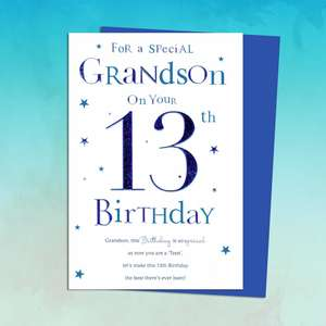 Grandson Age 13 Birthday Card Sitting On A Display Shelf