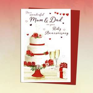 Beautiful Cake And Champagne Mum And Dad Ruby Anniversary Card