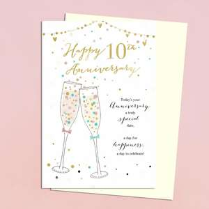 10th Anniversary Card Featuring A Set Of Two Champagne Glasses