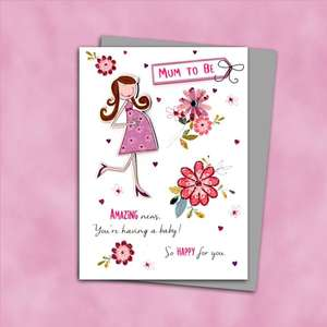 Mum To Be Greeting Card Alongside Its Silver Envelope