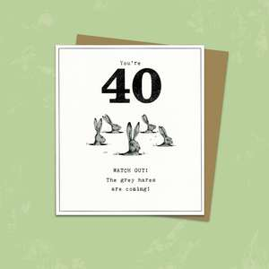 Age 40 Funny Birthday Card Alongside Its Kraft Envelope
