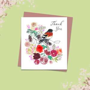 Thank You Neon Robin Card Alongside Its Rose Gold Envelope