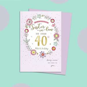 Sister In Law Age 40 Birthday Card Alongside Its Lilac Envelope