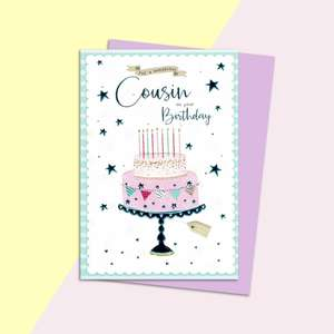 Cousin Birthday Card Displayed With Its Magenta Envelope