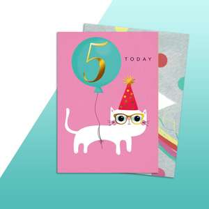 Age 5 Cat Themed Birthday Card Alongside Its Rainbow Envelope
