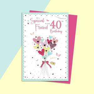Friend Age 40 Birthday Card Alongside Its Magenta Envelope