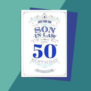 Son In Law Age 50 Birthday Card Alongside Its Dark Blue Envelope
