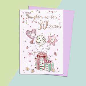 Daughter In Law Age 30 Birthday Card Alongside Its Lilac Envelope