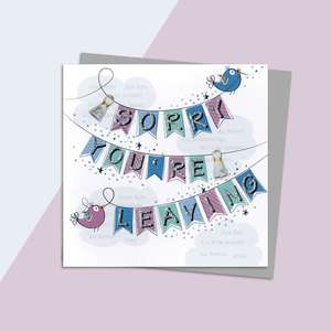 Sorry You're Leaving Bunting Card Alongside Its Silver Envelope