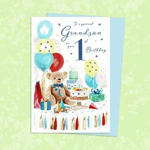 Grandson Age 1 Birthday Card Sitting On A Display Shelf