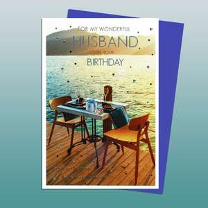 Husband Birthday Card Showing A Table Set Up For A Meal By The Sea