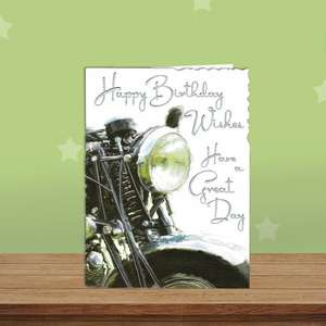 Motorbike Themed Birthday Card Alongside Its White Envelope