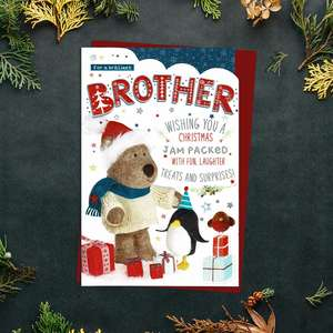 Brother Christmas Card Alongside Its Red Envelope