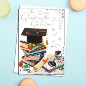 Granddaughter Graduation Card Alongside Its White Envelope