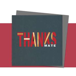 Thanks Mate Greeting Card Alongside Its Dark Grey Envelope