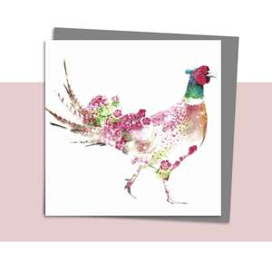 Floral Pheasant Blank Card Alongside Its Dark Grey Envelope