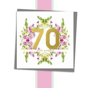 Age 70 Floral Birthday Card Alongside Its Dark Grey Envelope