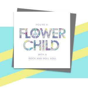 Flower Child Greeting Card Alongside Its Dark Grey Envelope