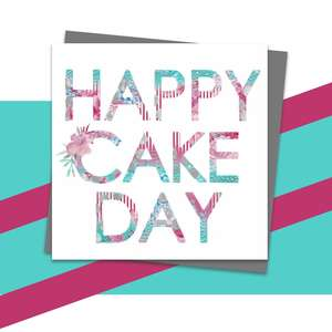 Happy Cake Day Greeting Card Alongside Its Dark Grey Envelope