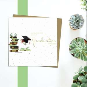 Graduation Greeting Card Alongside Its Kraft Envelope