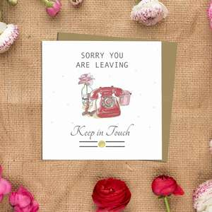 Sorry You're Leaving Greeting Card Alongside Its Kraft Envelope