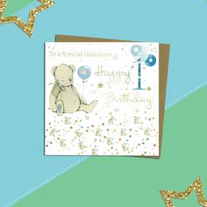 Grandson 1st Birthday Card Alongside Its Kraft Envelope
