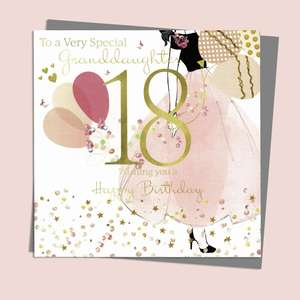 Granddaughter 18 Birthday Card Alongside Its Silver Envelope