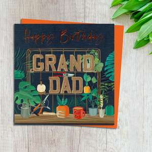 Grandad Birthday Card Design Complete With Neon Orange Envelope