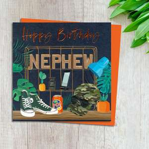 Nephew Birthday Card Design Complete With Neon Orange Envelope