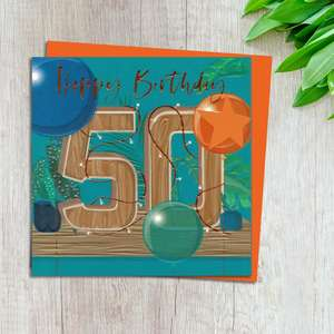 Age 50 Birthday Card Design Complete With Neon Orange Envelope