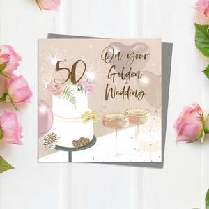 Golden Wedding Anniversary Card With Embellishments And Grey Envelope