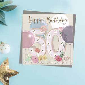 Happy 50th Birthday Card . Pastel Colours And Embellishments Depicting Flowers And Balloons. Complete With Co-Ordinating Grey Envelope