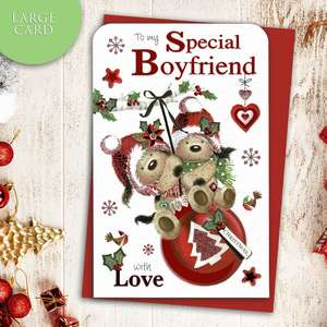 Special Boyfriend Christmas Card Alongside Its Red Envelope