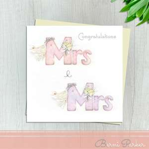 Mrs And Mrs All In Pink Wedding Day Card. Highlighted In Silver Foil And Completed With An Ivory Envelope