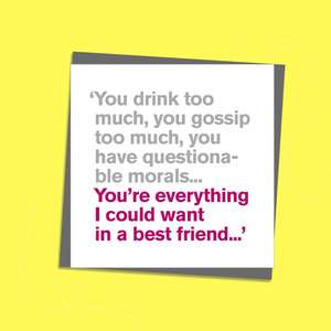 To The Point Humorous Card With Hot Pink And Grey Text on Front. Text reads; ' You drink too much, you gossip too much, you have questionable morals...You're everything I could want in a best friend...' Blank Inside For Own Message. Complete With Grey EnvelopeC