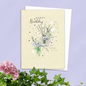 Reed Diffuser Birthday Card Alongside Its White Envelope