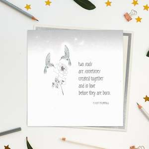 Stunning, Luxury, Handcrafted Card With Romantic Scott Fitzgerald Quote On Front. Added Jewel Embellishments. Blank inside For Own Message. Warm White Envelope With Silver Border.