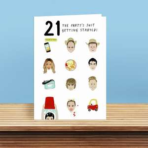 Age 21 Birthday Card Featuring Icons Of The Era In Which You Were Born