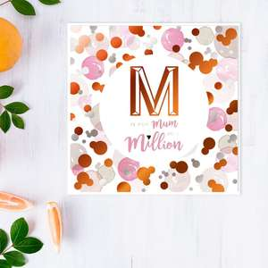 M Is For Mum Mother's Day Design Alongside Its White Envelope