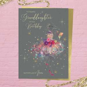 'To A Very Special Granddaughter On Your Birthday Sent With Lots Of Love' card from the 'Grace' range. Beautiful Girl In Multi Colour Dress With Added Sparkle And Gold Foil Detail. Printed Insert with Colour Image Inside And Heartfelt Verse. Complete With Gold Colour Envelope. So Pretty!