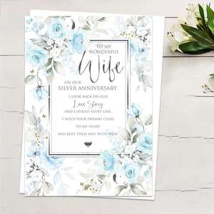' To My Wonderful Wife On Our Silver Anniversary' Featuring Pale Blue Roses And Leaves With Gold Foil Detail, Heartfelt Words And White Envelope