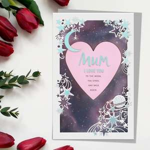 ' Mum I Love You To The Moon, The Stars And Back again' Mother's Day Card Features A 3D Cut Out Design Of Heart And Moon. With Added Silver Foil Detail And Silver Envelope