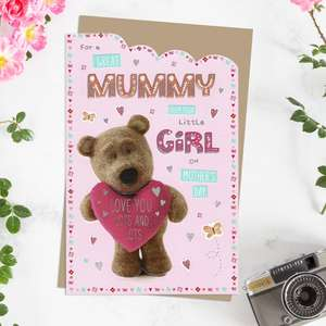 ' For A Great Mummy From Your Little Girl On Mother's Day' Card Featuring Barley Bear With Pink Heart! Complete With Silver Foiling Detail And Brown Envelope